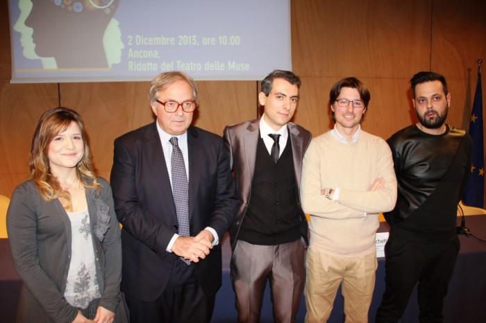 da sx Cinzia Alfonsi, il presidente Spacca, Leonardo Gabrielli Emanuele Tarsi e Matteo Bastiani