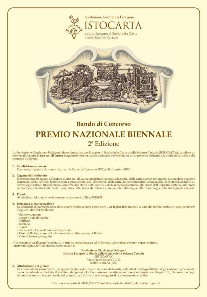 Istocarta, al via la 2a edizione del Premio Nazionale Biennale