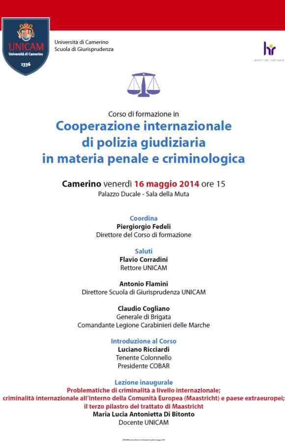 """Corso """"Cooperazione internazionale di polizia giudiziaria in materia penale e criminologica"""" all'UniCam"""