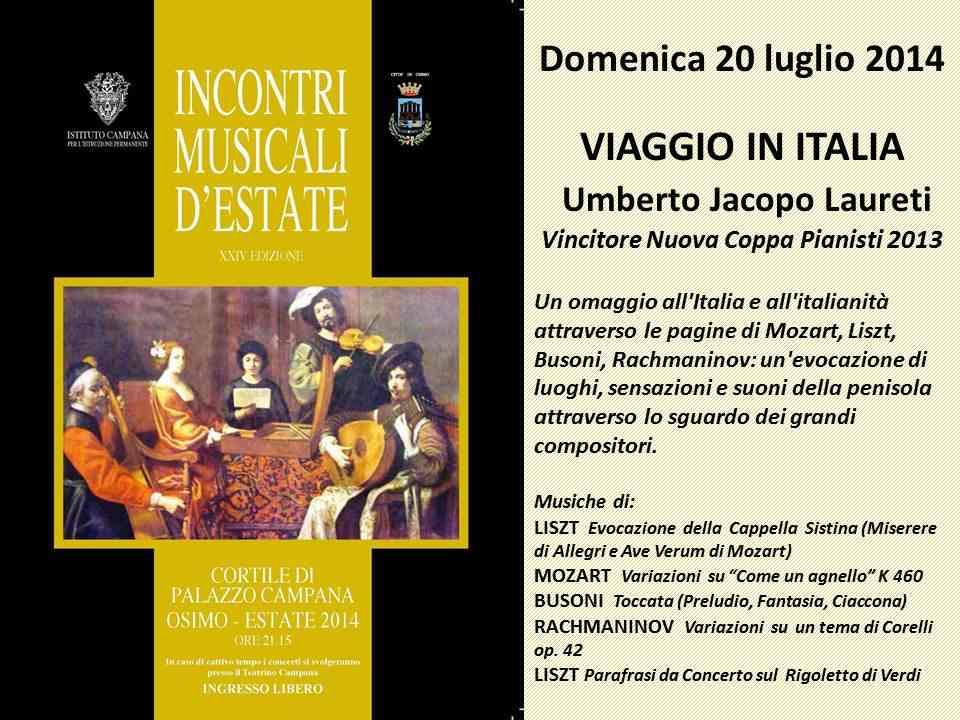 Incontri Musicali d'Estate, terzo appuntamento al Palazzo Campana