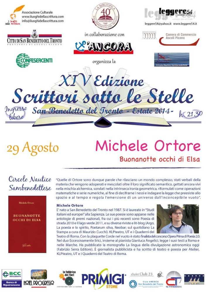 """Michele Ortore, """"Buonanotte Occhi di Elsa"""" al Circolo Nautico"""