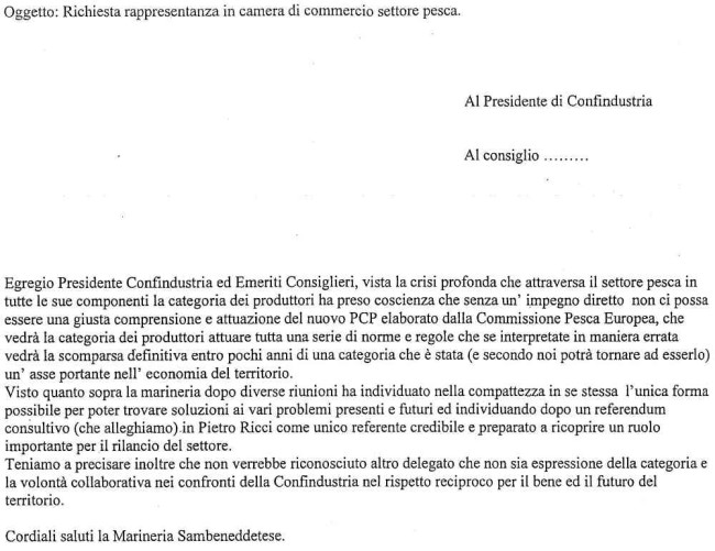 lettera della Marineria a Confindustria