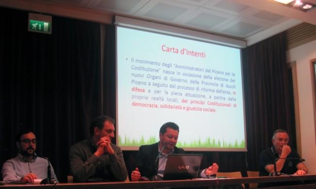 Amministratori del Piceno per la Costituzione: un momento dell'incontro a San Benedetto