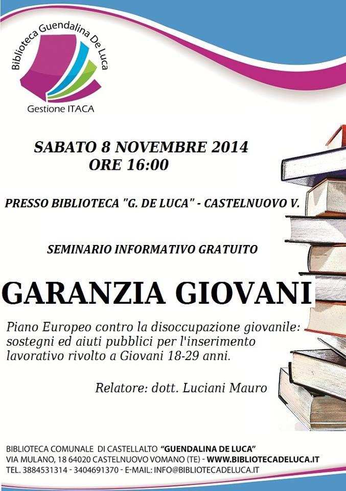 """Castellalto: Seminario informativo gratuito su """"Garanzia Giovani"""""""