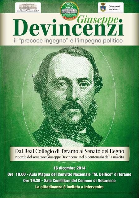 """Il Comune di Notaresco e il Liceo Classico """"M. Delfico"""" domani ricordano il senatore Giuseppe Devincenzi"""