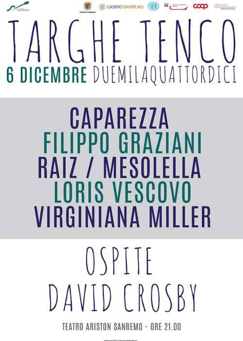"""Da Crosby a Caparezza, grande musica il 6 dicembre a Sanremo nella serata delle """"Targhe Tenco"""""""