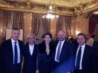 da sx Calvaresi, Sorge, Giusy Piunti, Gaspari e Demetrio Ferri - ambasciata italiana a Mosca - 2013