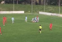 Forsempronese-Grottammare_Mongiello festeggiato dopo il gol