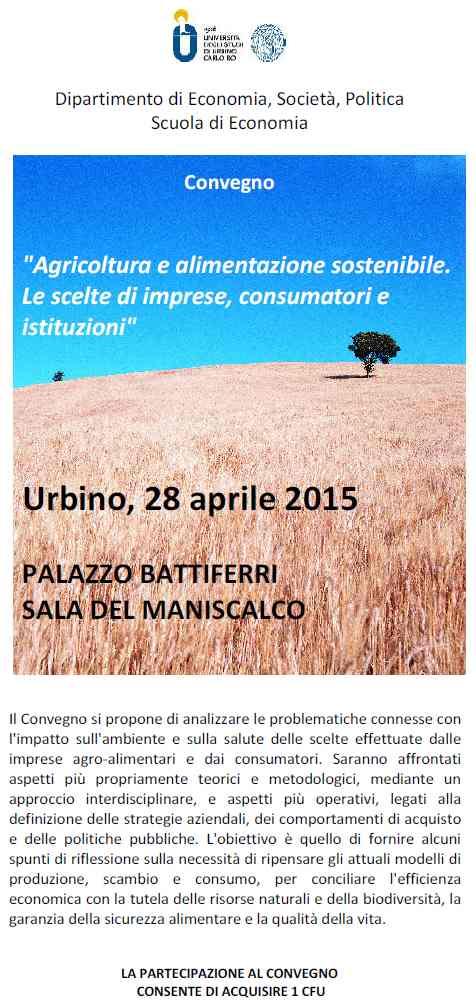 Agricoltura e alimentazione sostenibile. Le scelte di imprese, consumatori e istituzioni