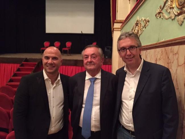 Natalino Bartolomei con il sindaco di Offida Lucciarini ed il Presidente della Regione Marche Ceriscioli