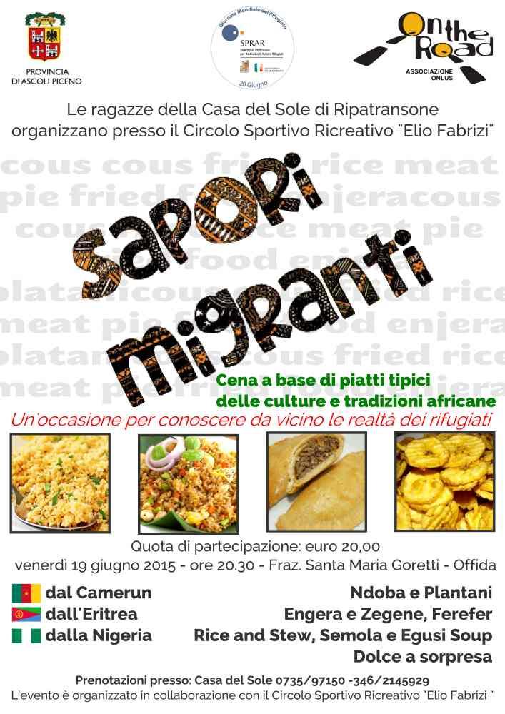 Sapori Migranti, la cena etnica organizzata da On the Road Onlus per la Giornata Mondiale del Rifugiato