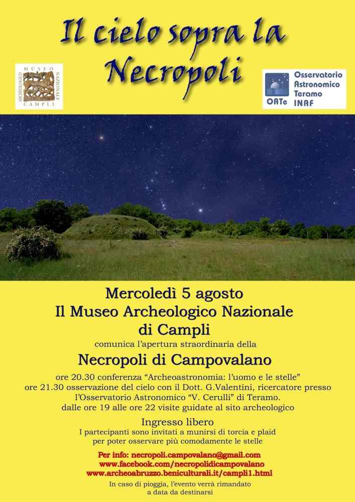 Il cielo sopra la Necropoli a Campovalano