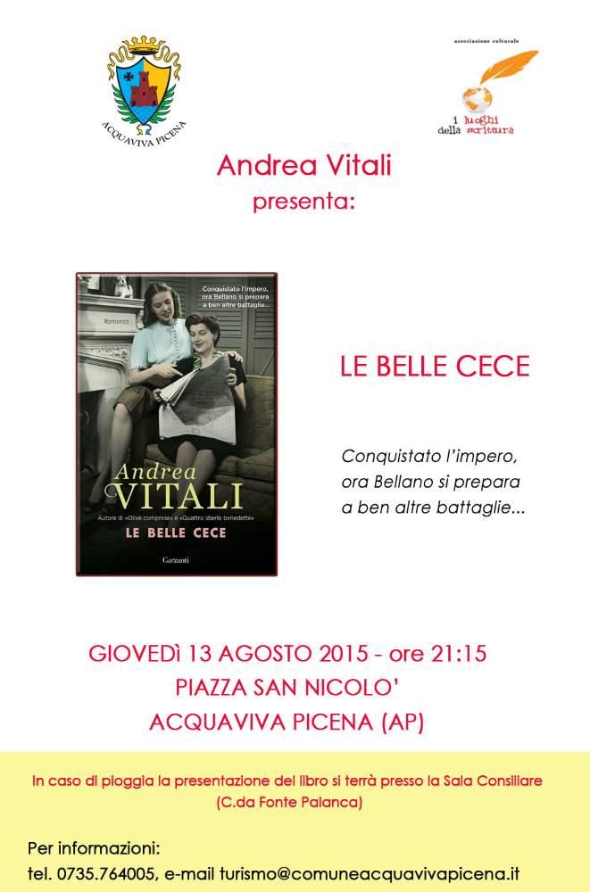 """Andrea Vitali, """"Le belle Cece"""" ad Acquaviva"""
