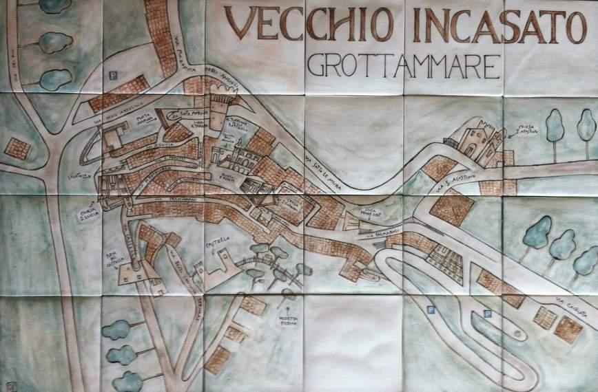 Nuova targa artistica rappresentante la mappa dell'incasato storico di Grottammare