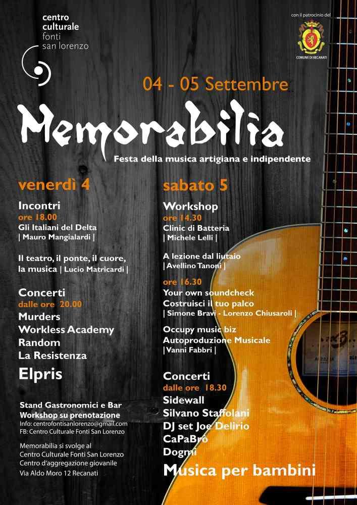 Memorabilia is back! Festa della musica artigiana e indipendente