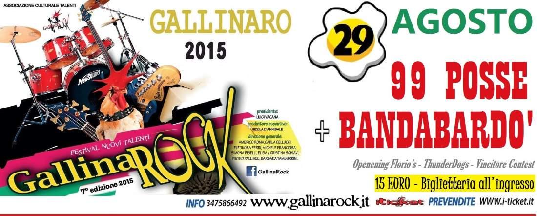 GallinaRock il 29 agosto gran finale con 99 posse e Bandabardò