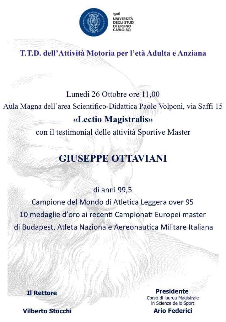 Giuseppe Ottaviani, a 99 anni in cattedra a Urbino