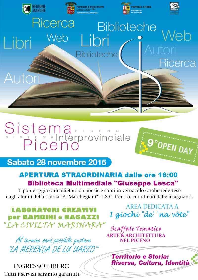 Sabato biblioteche aperte in tutto il Piceno