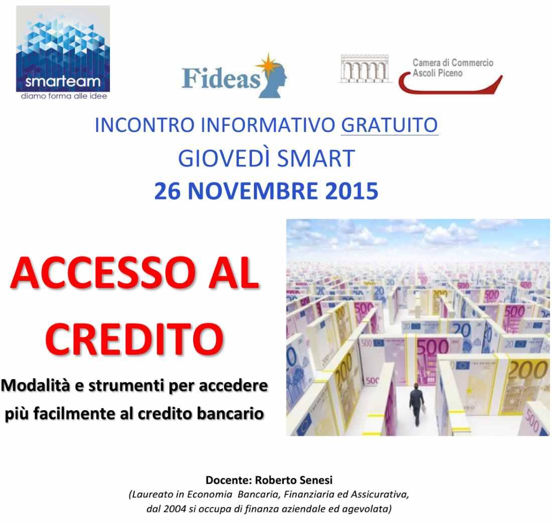 Giovedì smart del 26 novembre sui temi e le problematiche dell'accesso al credito