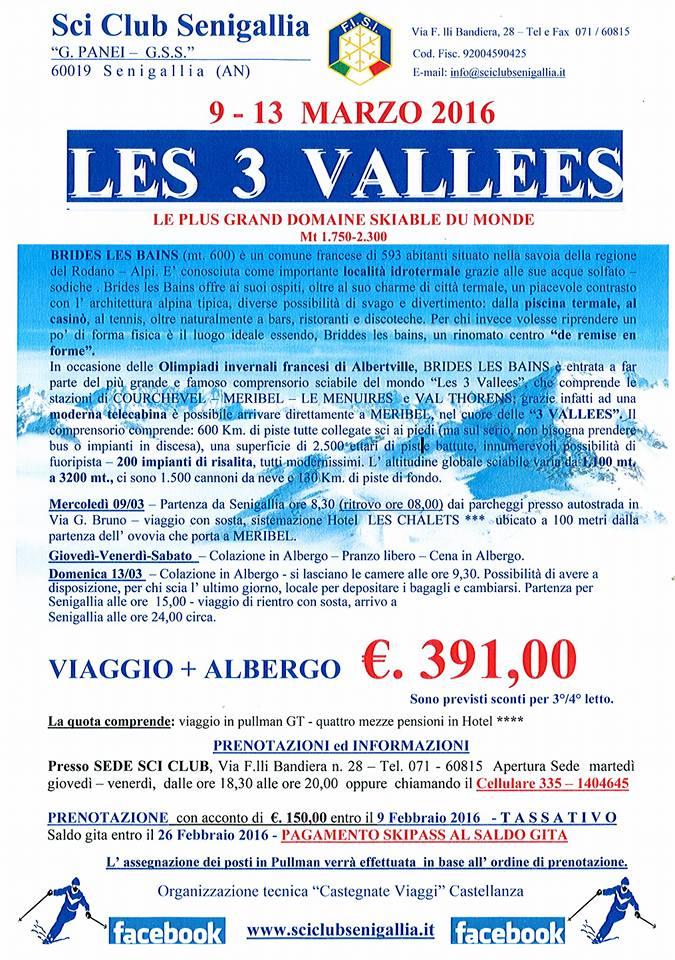 """Sci, a """"Les 3 Vallées"""" con lo Sci Club Senigallia"""