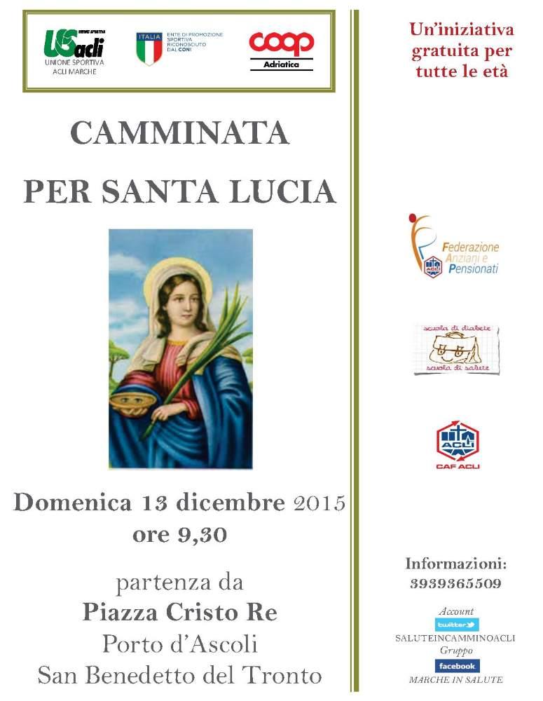"""Domenica 13 dicembre la """"Camminata per Santa Lucia"""""""