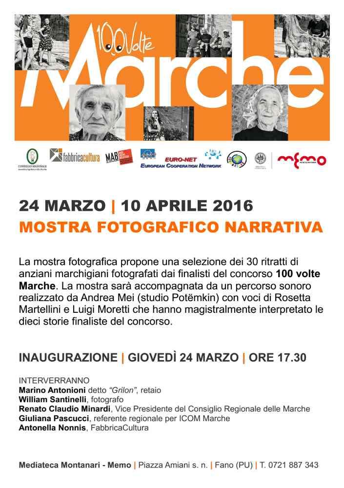 """Inaugurazione mostra fotografica """"100 Volte Marche"""" alla MeMo di Fano"""