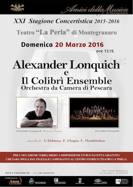 Tam, Alexander Lonquich e Il Colibri' Ensemble a Montegranaro