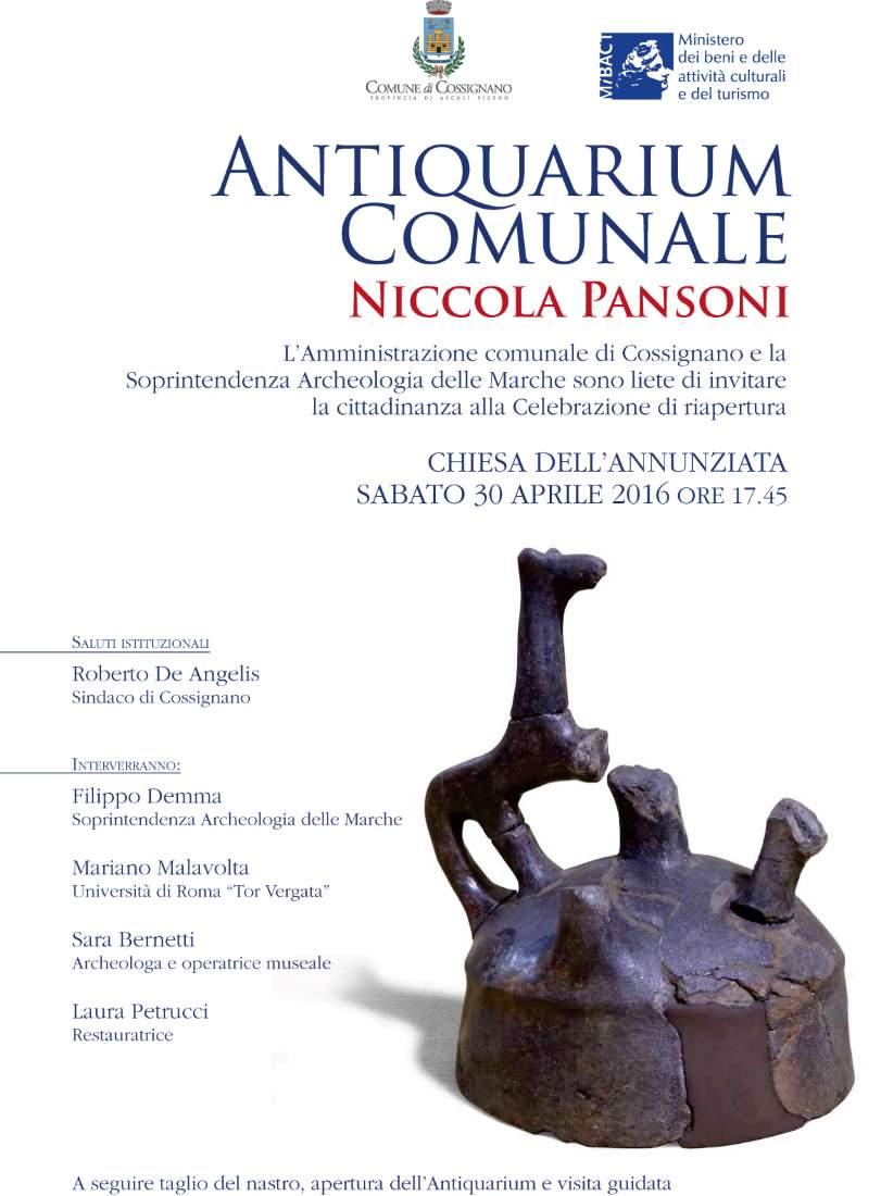 """Riapertura dell'Antiquarium comunale """"Niccola Pansoni"""" a Cossignano"""