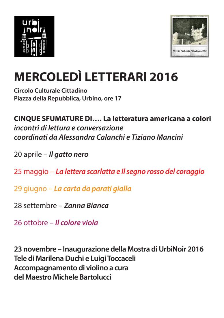 "I ""Mercoledì letterari"" di Urbinoir"