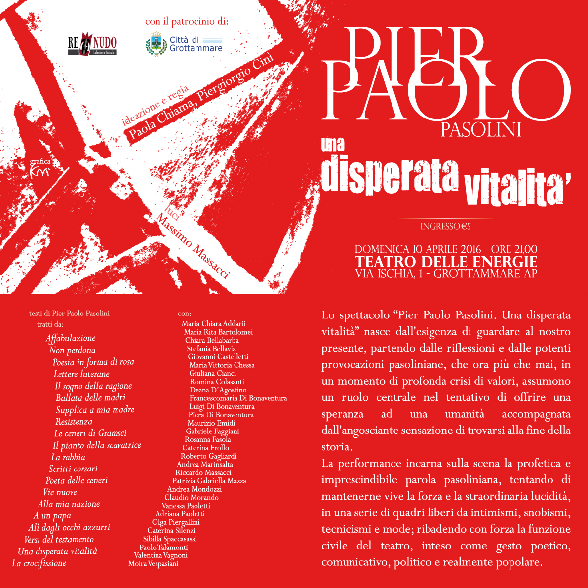 """Pier Paolo Pasolini, """"Una disperata vitalità"""" al Teatro delle Energie"""