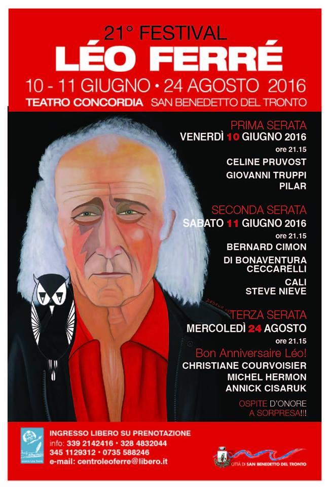 Festival Ferré, 21ma edizione all'insegna del tempo con la straordinaria partecipazione di Cali e Steve Nieve
