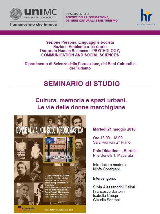 Cultura, memoria e spazi urbani: le vie delle donne marchigiane all'UniMc