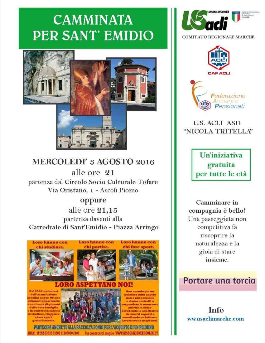 """Il 3 agosto torna la """"Camminata per Sant'Emidio"""""""