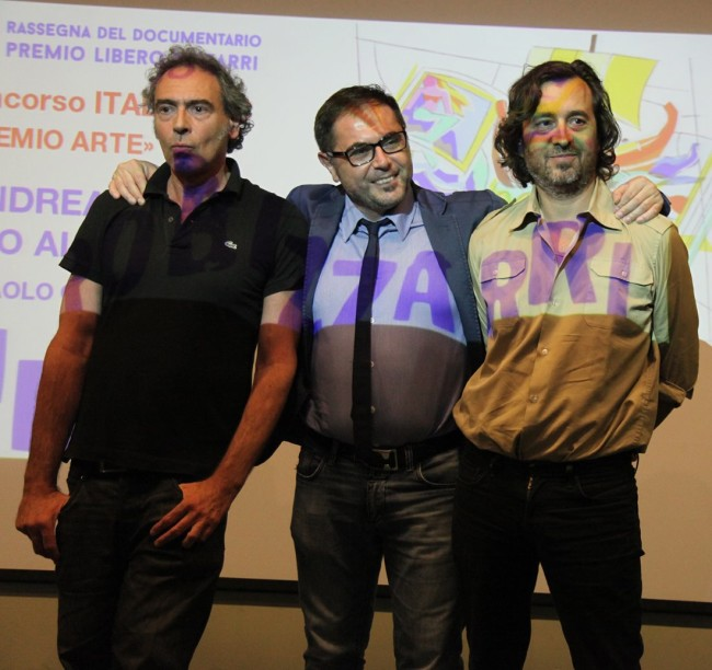 Premio ItaliaDoc Arte, Paolo Caredda con Alvise Renzini e il conduttore della serata Andrea Fioravanti