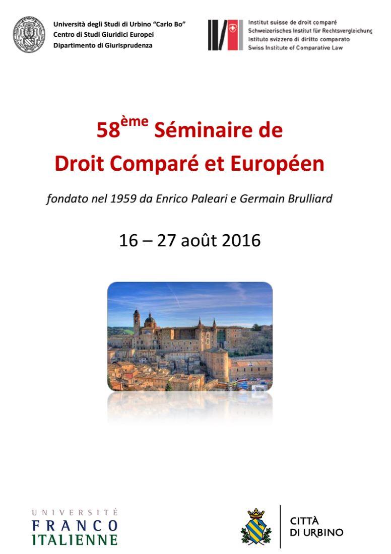 Edizione n. 58 per il Séminaire de droit comparé et européen