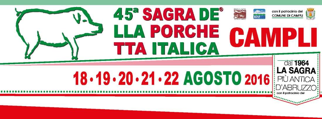 Sagra della Porchetta Italica di Campli: al via la 45ma edizione