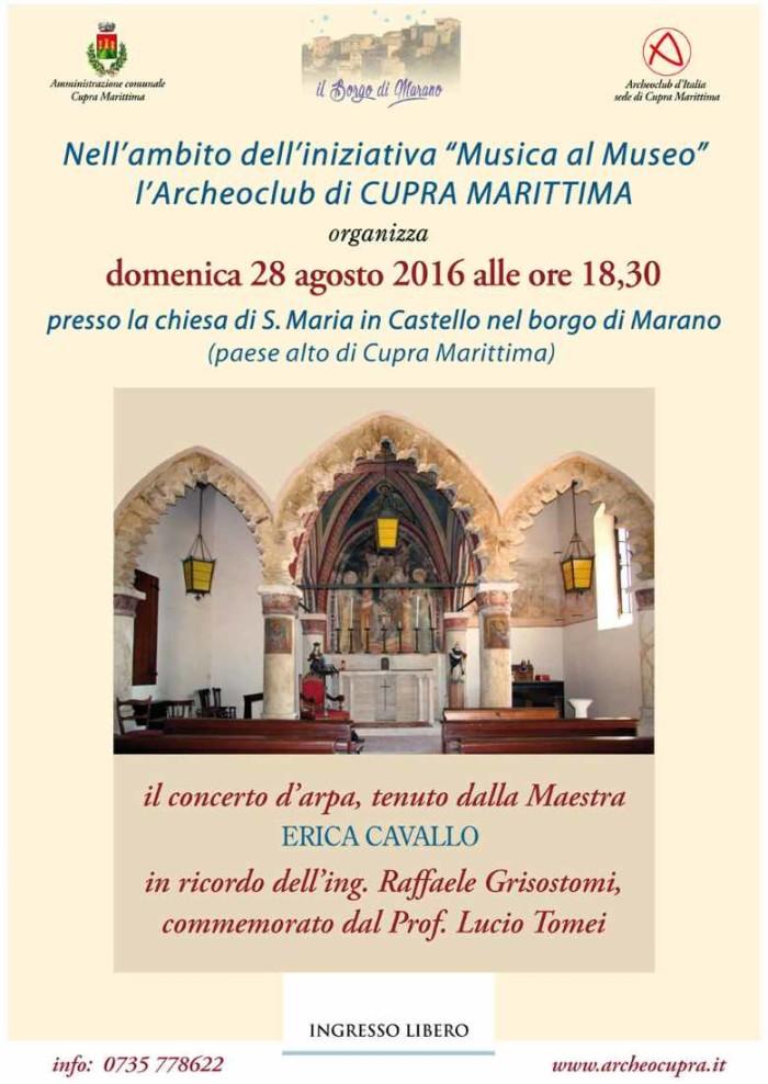 """Erica Cavallo, """"Concerto d'arpa"""" a Cupra"""