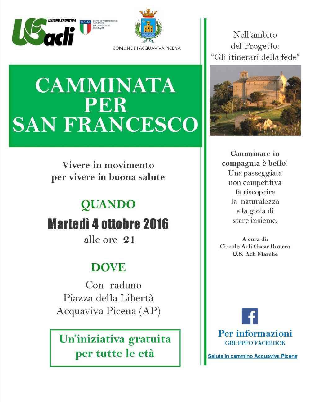 """La """"Camminata per San Francesco"""" ad Acquaviva Picena"""