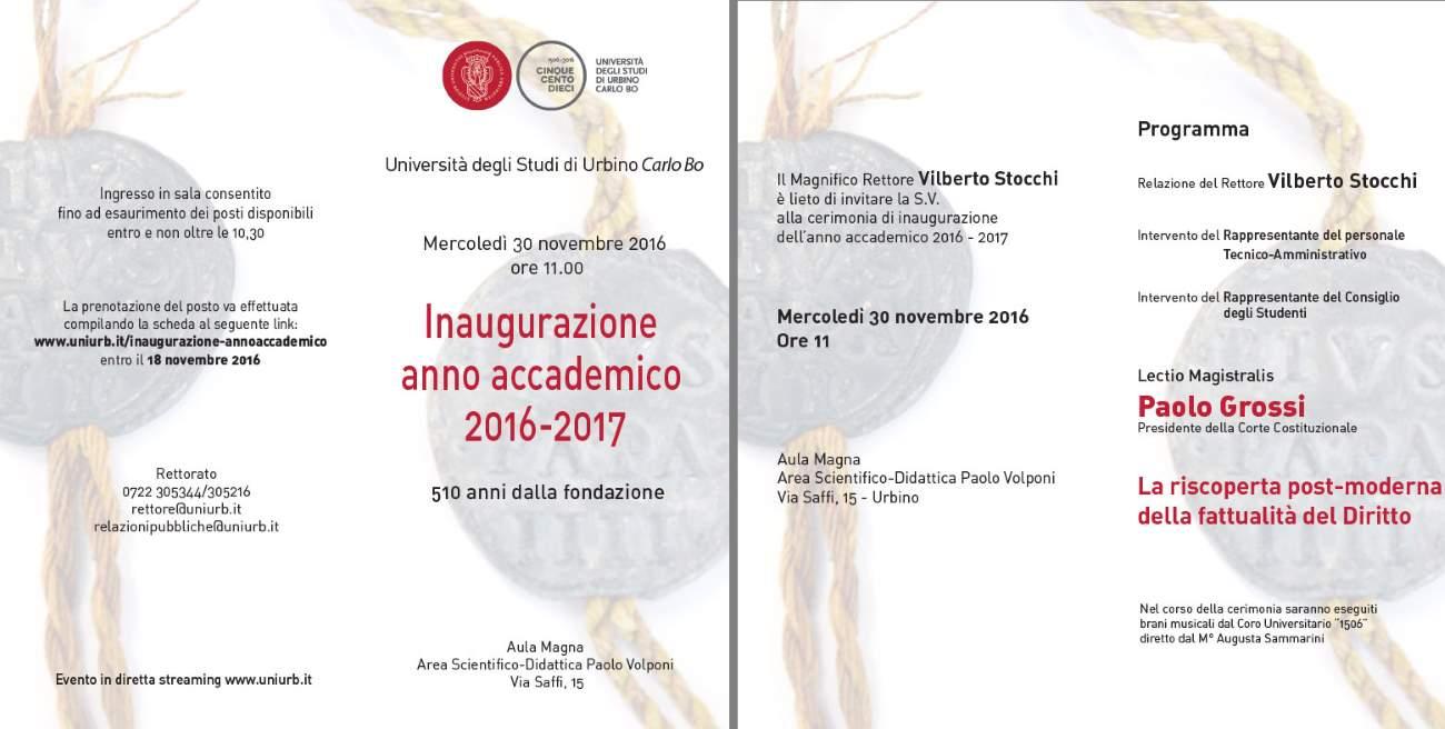 Il Presidente della Corte Costituzionale Paolo Grossi inaugura l'anno accademico dell'UniUrb