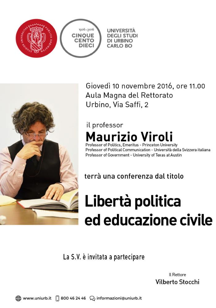 """Maurizio Viroli, """"Libertà politica ed educazione civile"""" all'UniUrb"""