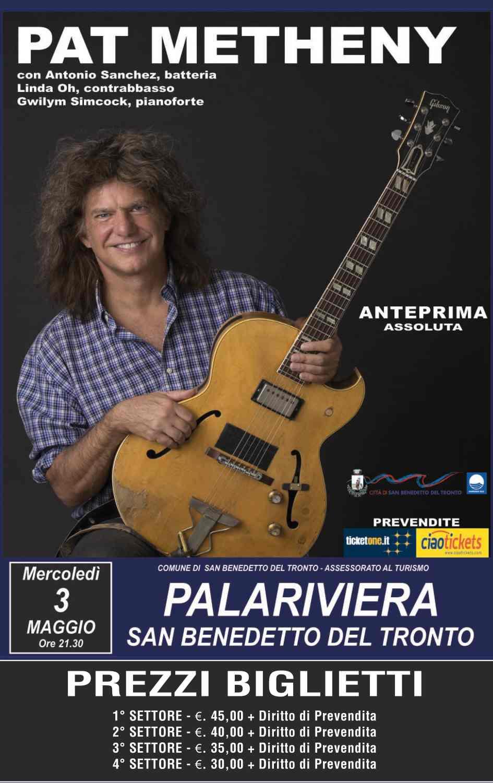 "Prima mondiale, ""Una serata con Pat Metheny"" al PalaRiviera"