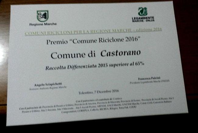 Castorano premiato come Comune Riciclone