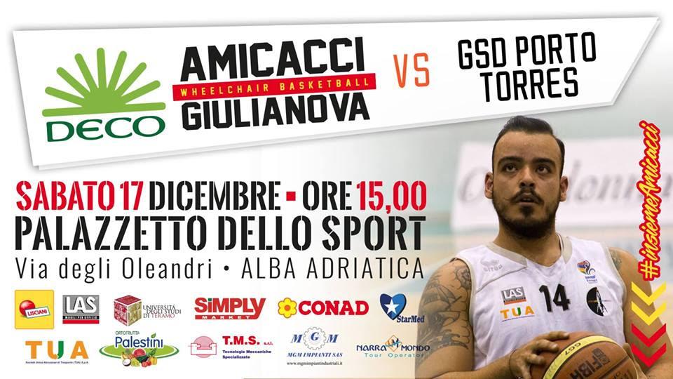 La Deco Group Amicacci Giulianova ospita la capolista Porto Torres