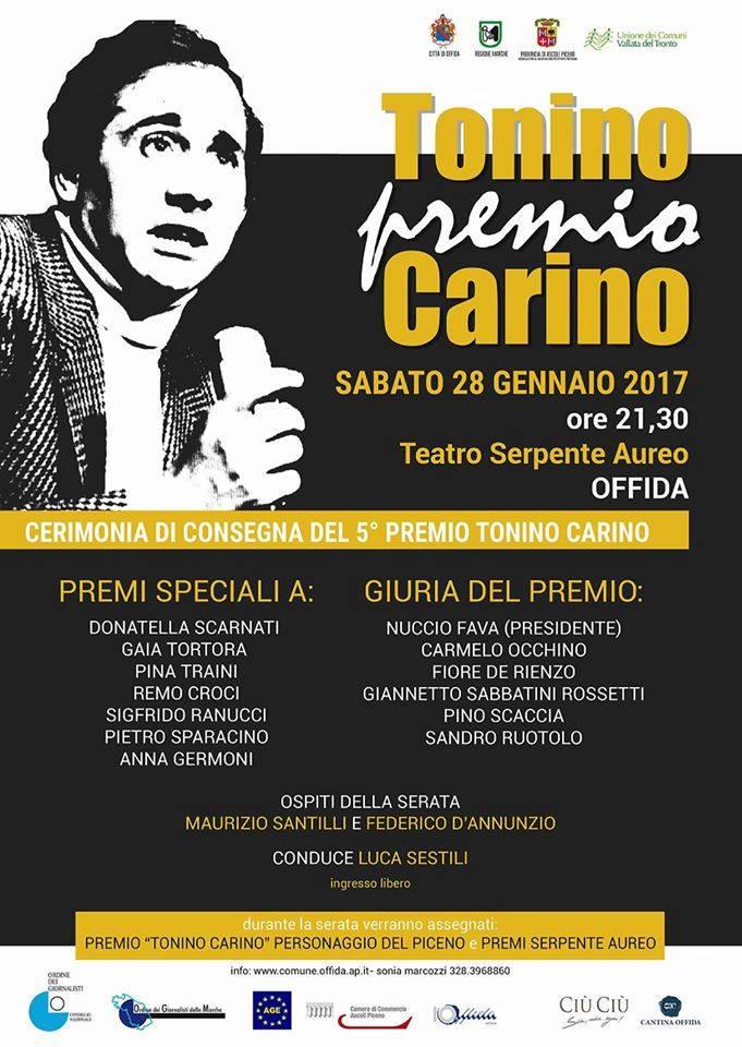 Torna a Offida il Premio Tonino Carino, con tanti ospiti d'eccezione