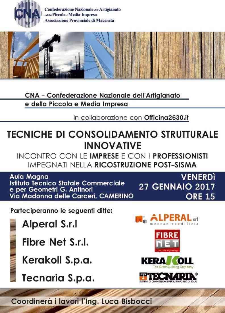 """Seminario """"Tecniche di consolidamento strutturale innovative"""" a Camerino"""