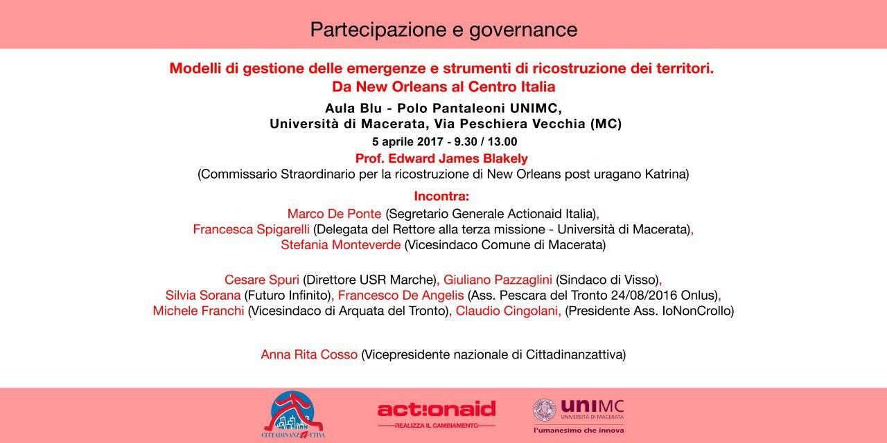 Partecipazione e governance: modelli di gestione delle emergenze e strumenti di ricostruzione dei territori