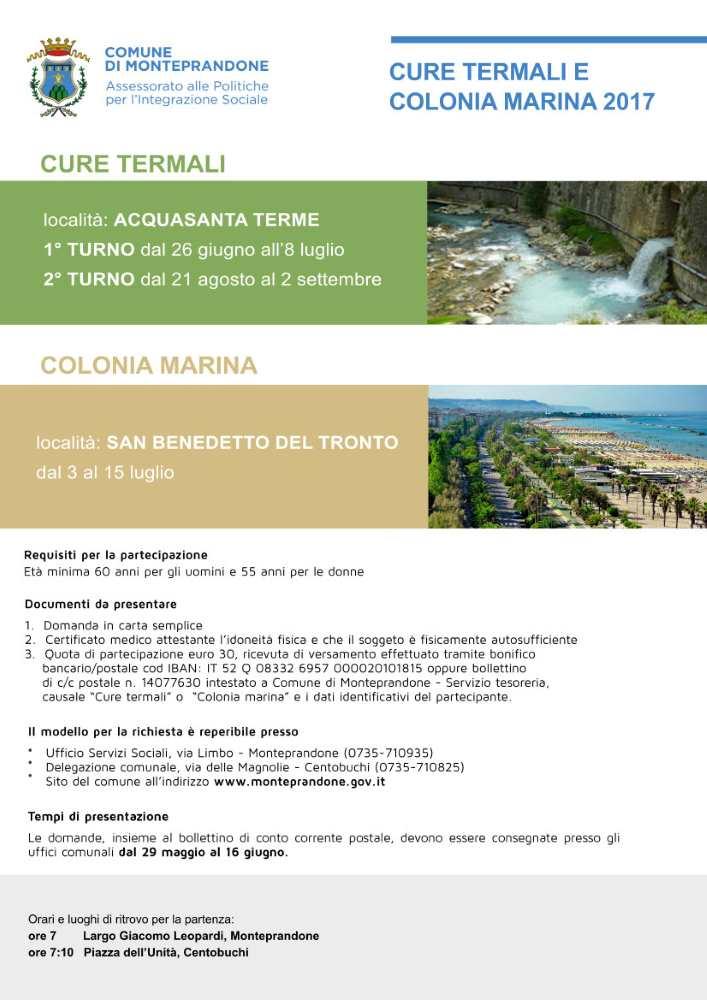 Monteprandone, cure termali ad Acquasanta e colonia marina a San Benedetto