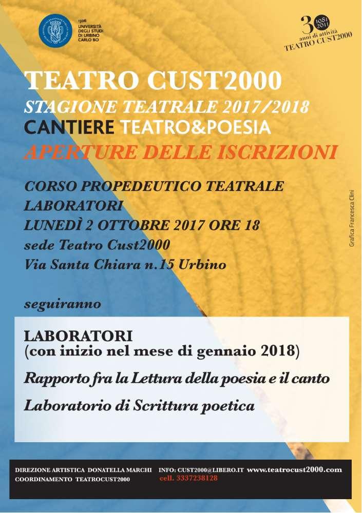 Aperte le iscrizioni ai Laboratori Teatrali del Teatro Cust 2000 di Urbino