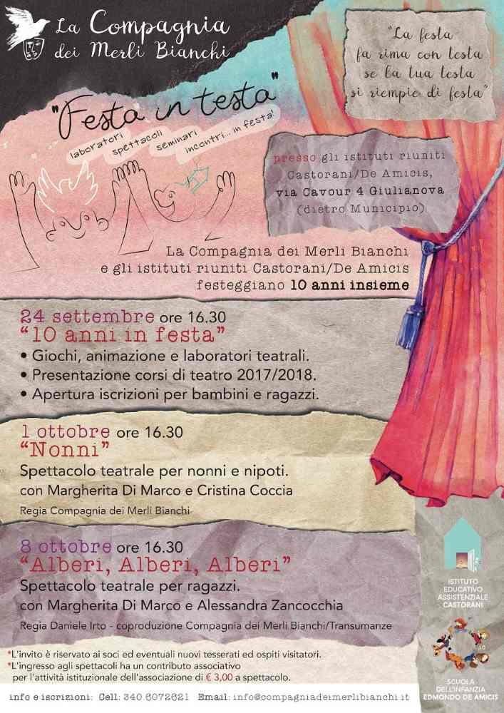 Teatro Ragazzi, tre domeniche di festa a Giulianova per i 10 anni di laboratori agli Istituti Castorani/De Amicis