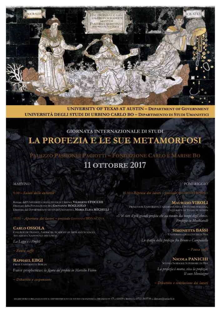 """Giornata Internazionale di Studi """"La profezia e le sue metamorfosi"""" all'UniUrb"""